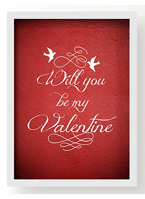 All About Wall Be My Valentine Poster Renkli